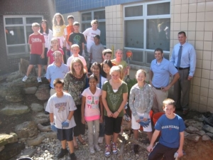 Montgomery Elementary class by their new pond project